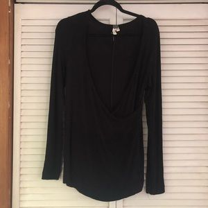 Free people black long sleeve ribbed t shirt